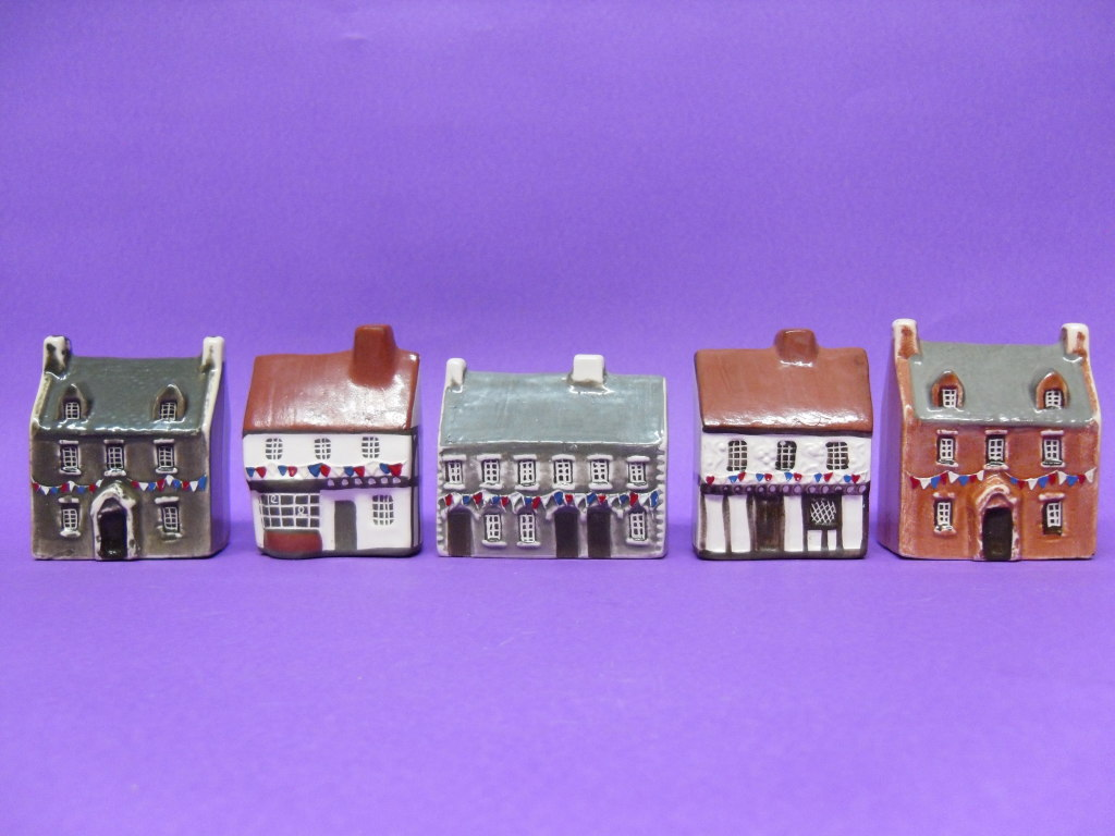 A selection of models with bunting.